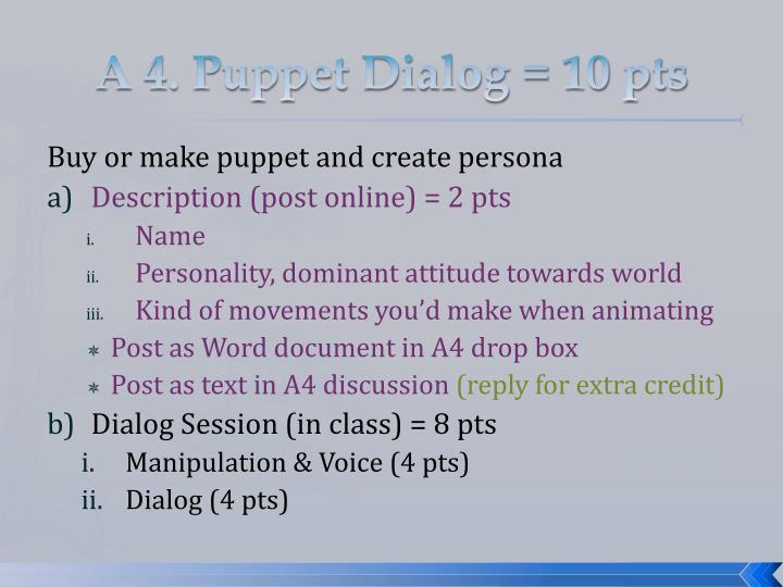 A 4. Puppet Dialog = 10 pts