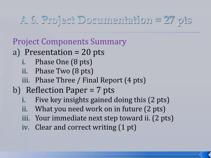 A 6. Project Documentation = 27 pts