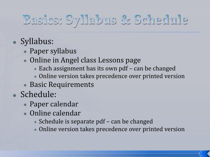 Basics: Syllabus & Schedule