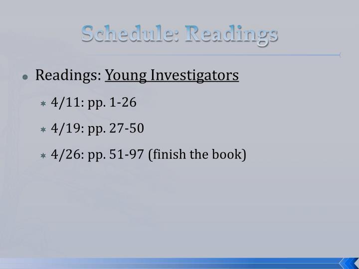 Schedule: Readings