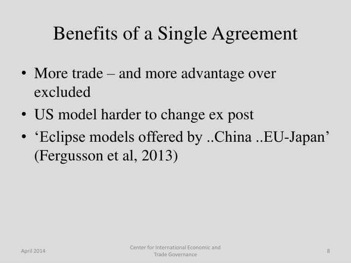 Benefits of a Single Agreement