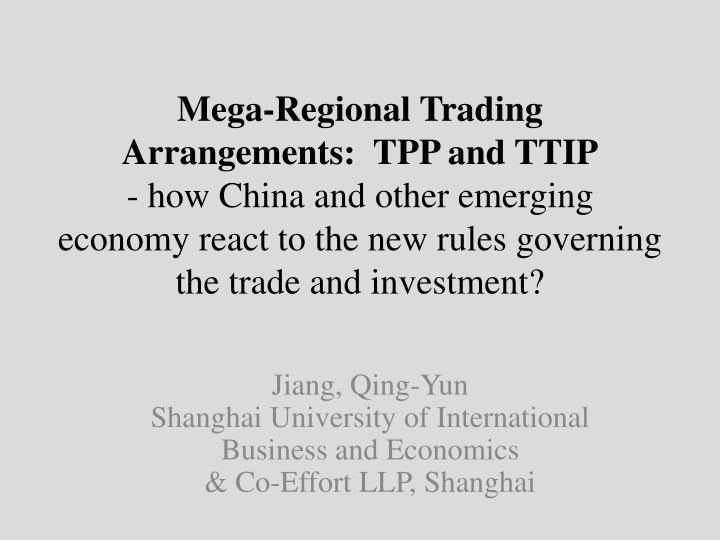 Jiang qing yun shanghai university of international business and economics co effort llp shanghai