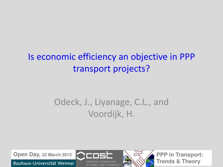 is economic efficiency an objective in ppp transport projects