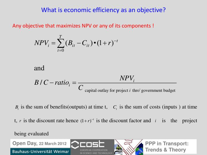What is economic efficiency as an objective?
