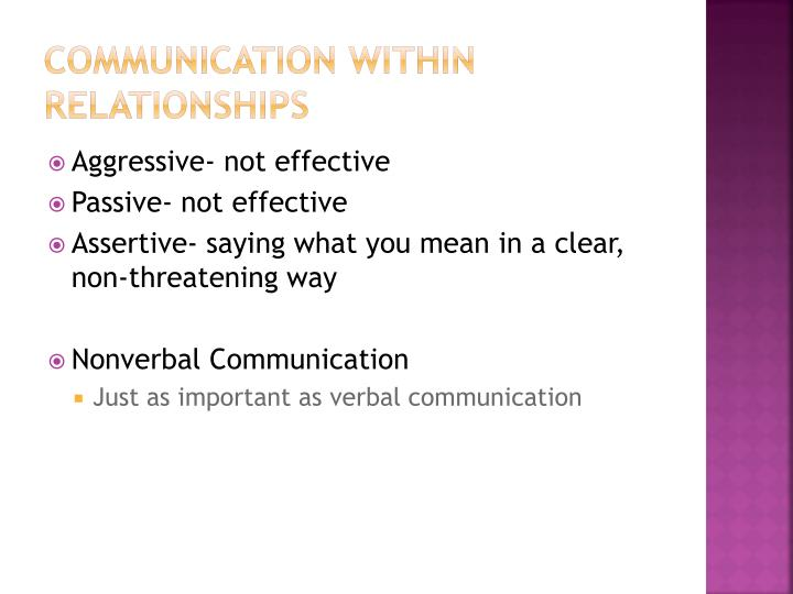 Communication within Relationships