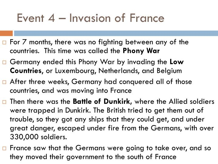 Event 4 – Invasion of France