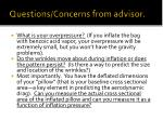 questions concerns from advisor