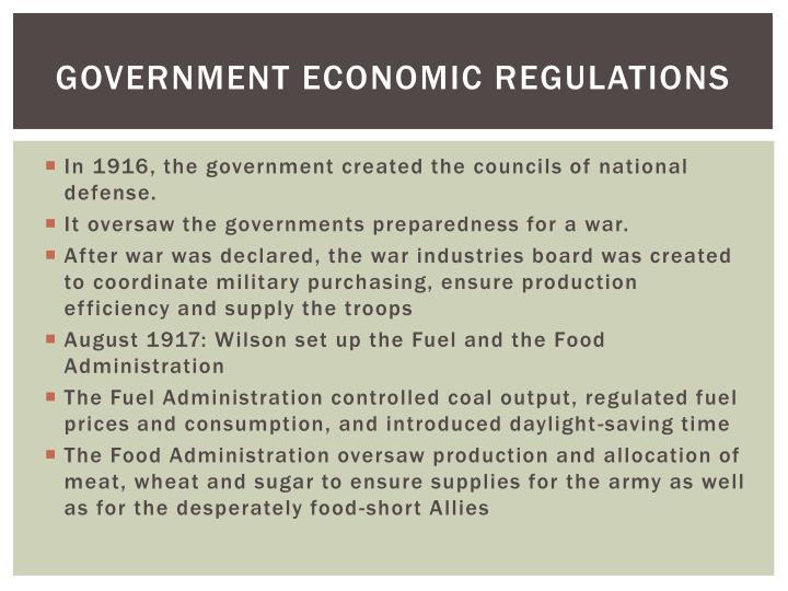 Government economic regulations