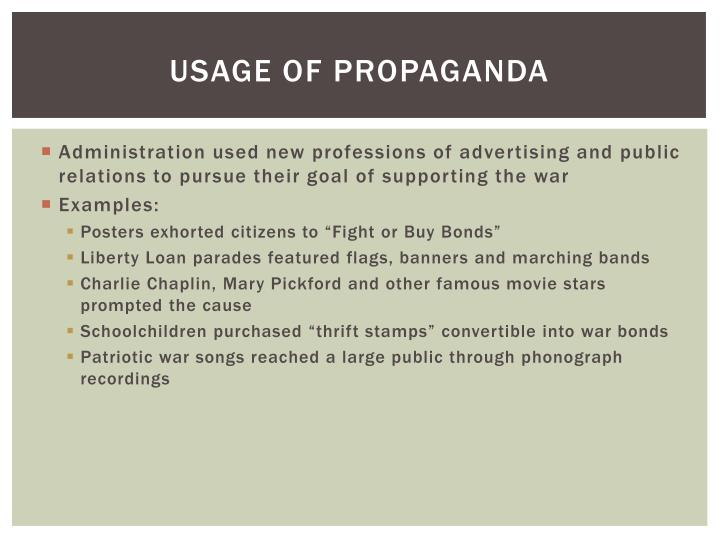 Usage Of Propaganda