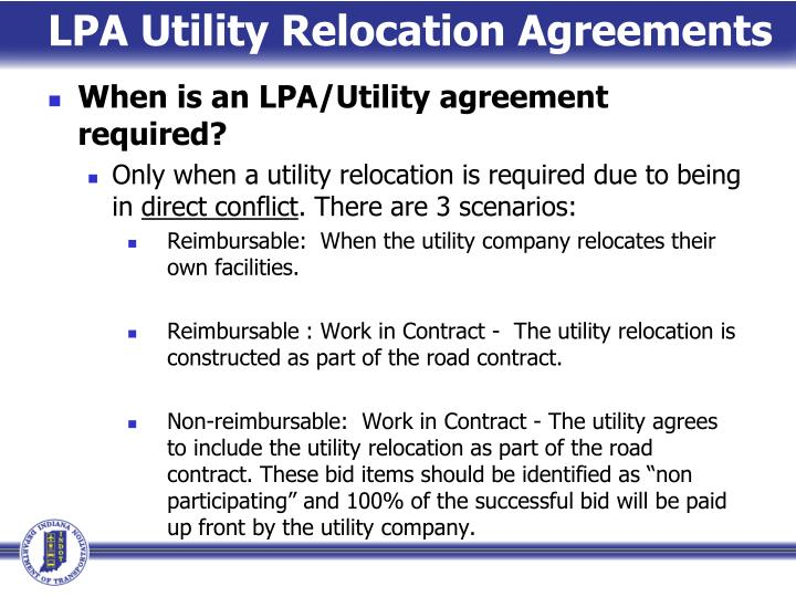 LPA Utility Relocation Agreements