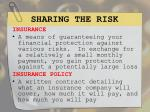 sharing the risk