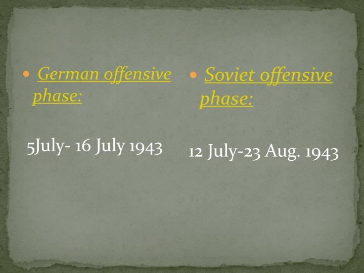 German offensive phase: