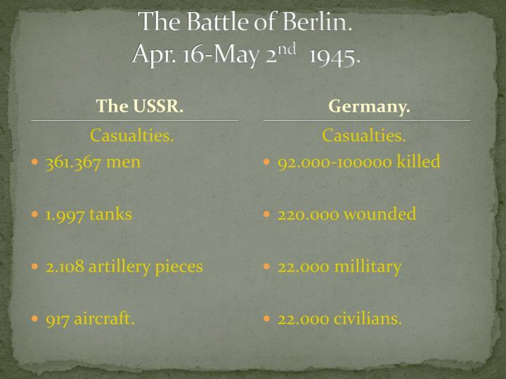 The Battle of Berlin.