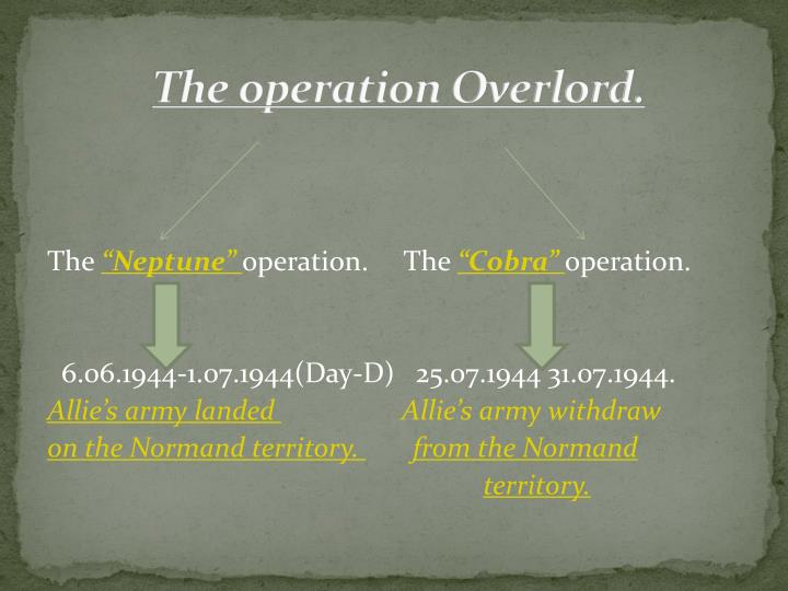 The operation Overlord.
