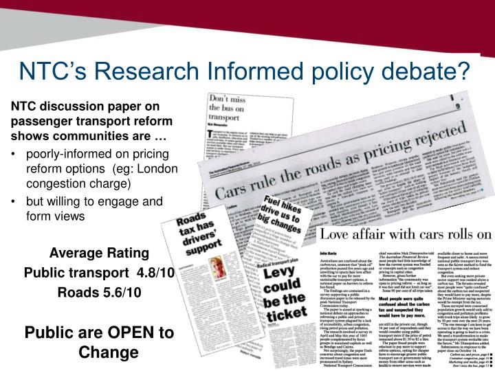 NTC's Research Informed policy debate?