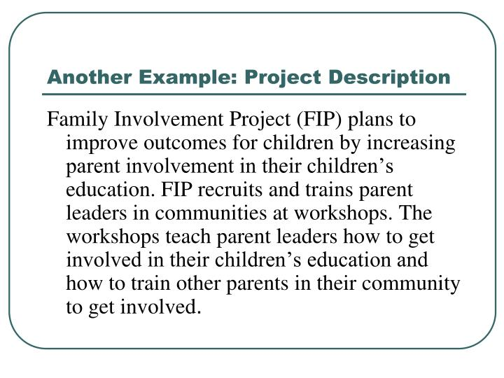 Another Example: Project Description