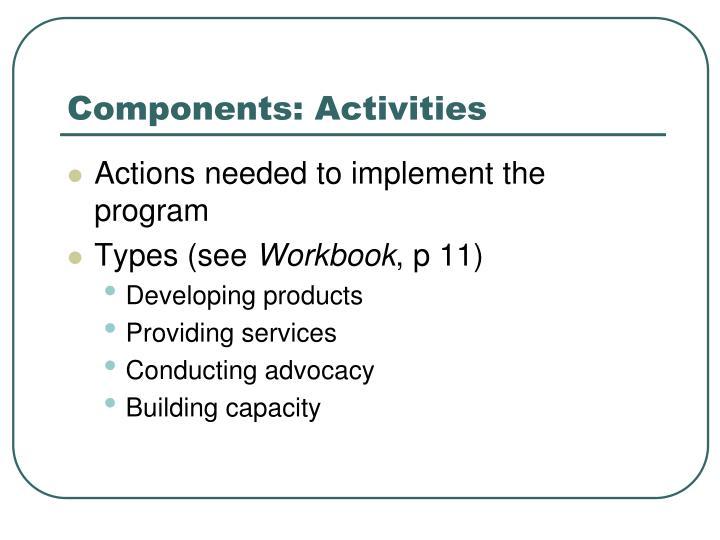 Components: Activities
