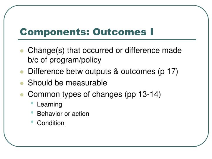 Components: Outcomes I