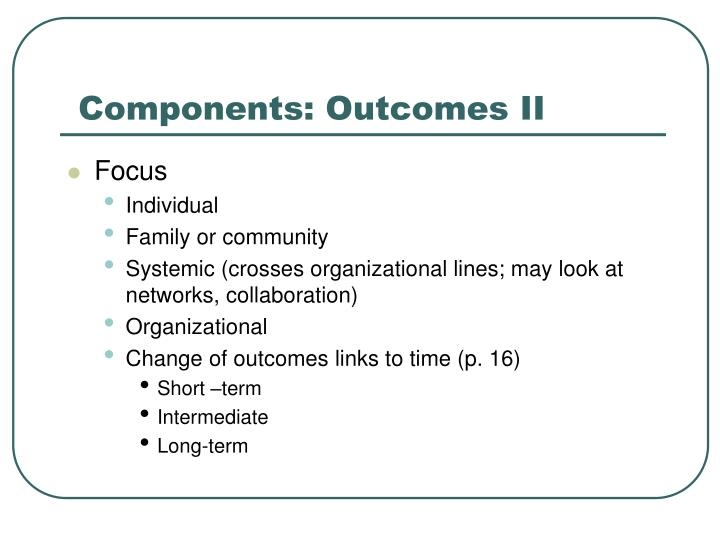 Components: Outcomes II