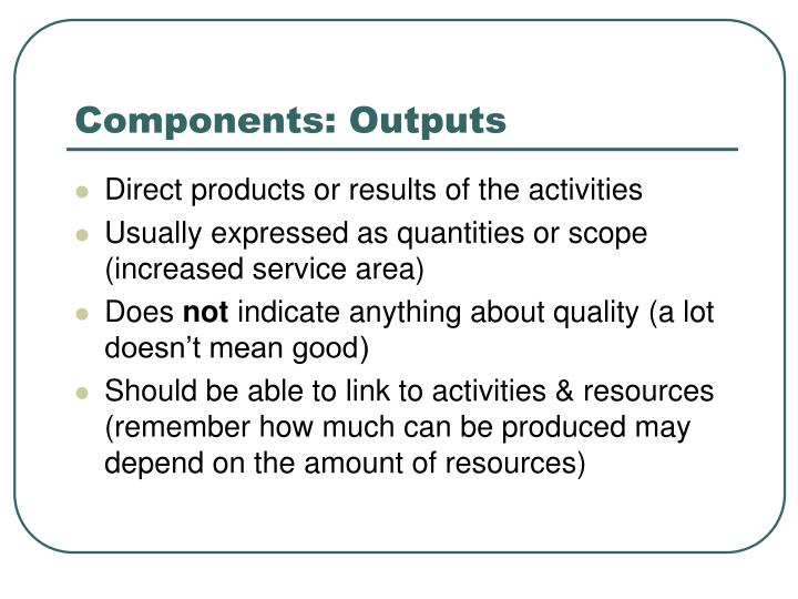 Components: Outputs