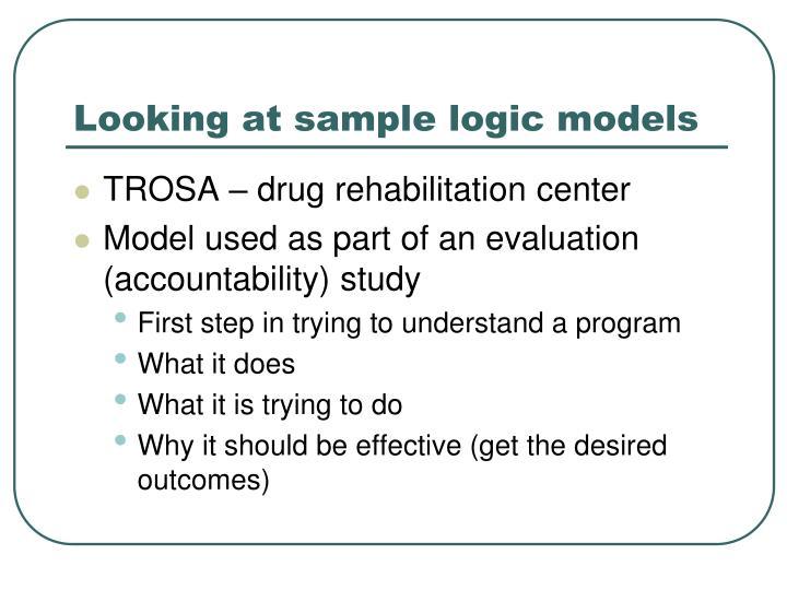 Looking at sample logic models