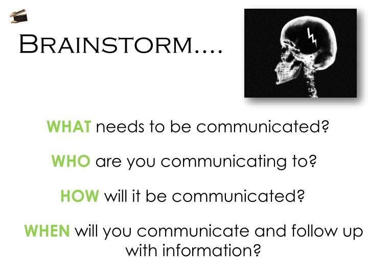 Brainstorm….