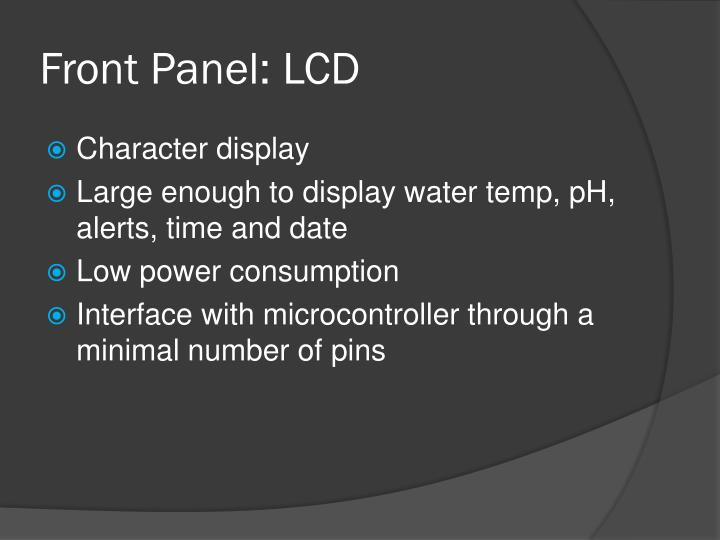 Front Panel: LCD
