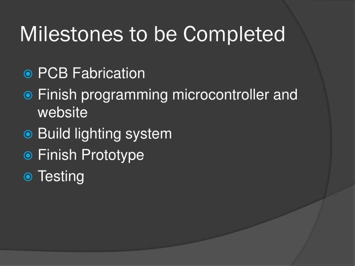 Milestones to be Completed