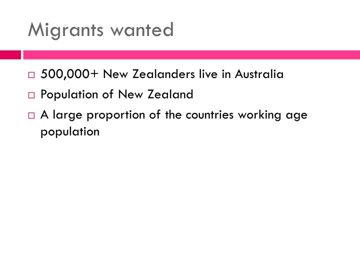 Migrants wanted