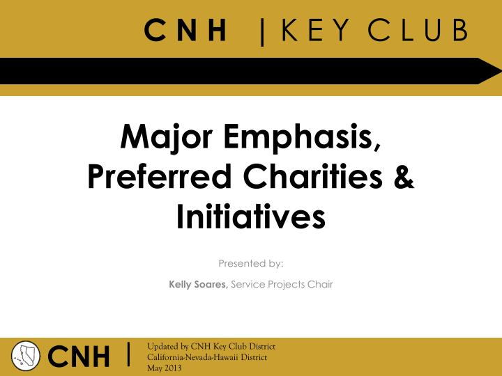 major emphasis preferred charities initiatives