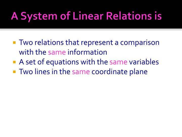 A System of Linear Relations is