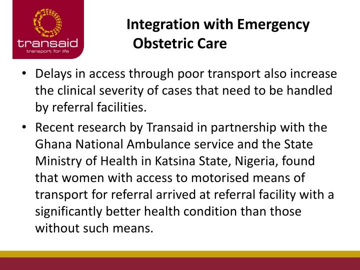 Integration with Emergency Obstetric Care
