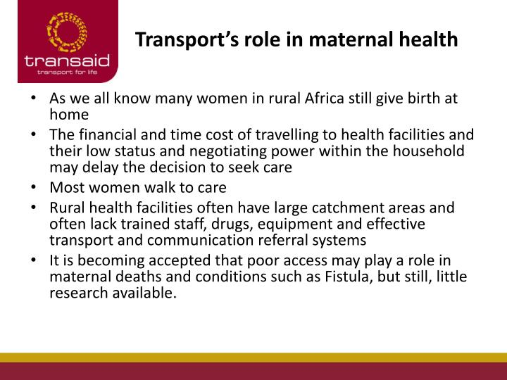 Transport's role in maternal health