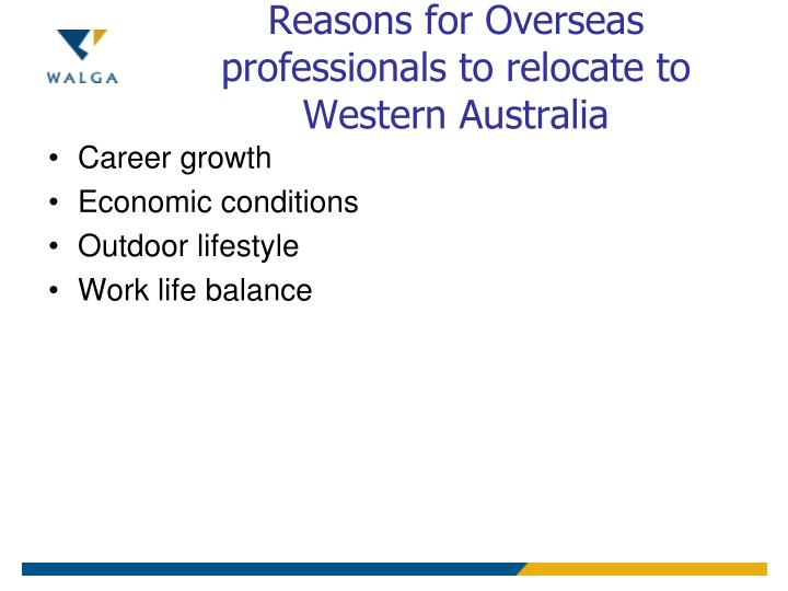 Reasons for Overseas professionals to relocate to Western Australia