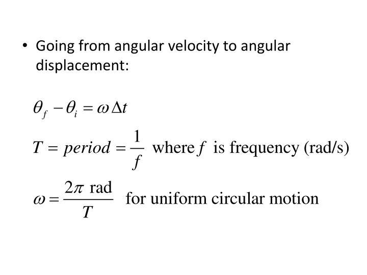 Going from angular velocity to angular displacement: