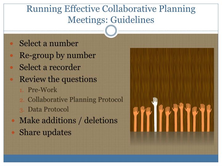 Running Effective Collaborative Planning Meetings: Guidelines