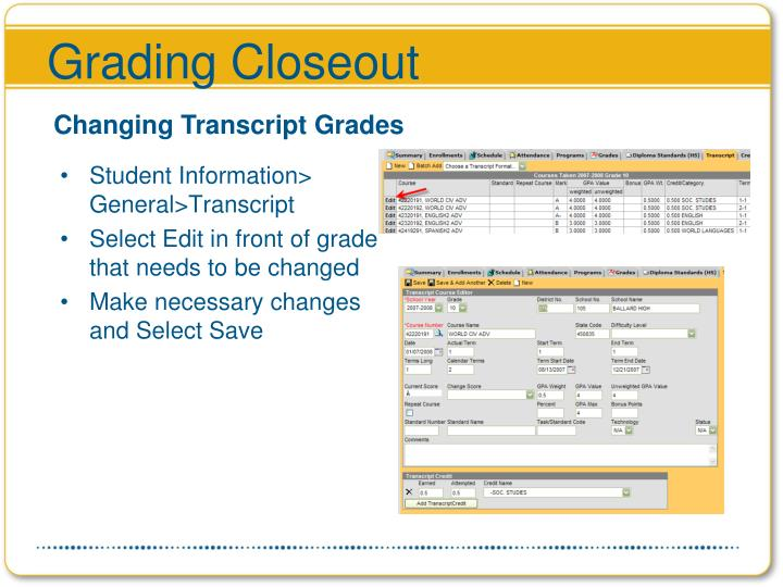 Grading Closeout