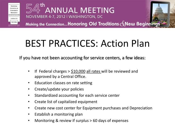 BEST PRACTICES: Action Plan