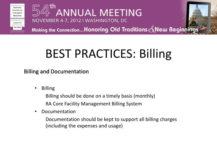 BEST PRACTICES: Billing