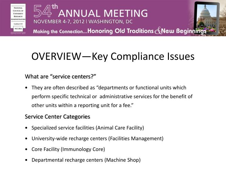 OVERVIEW—Key Compliance Issues