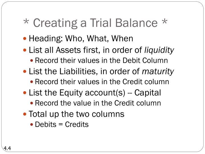 * Creating a Trial Balance *