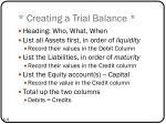 creating a trial balance