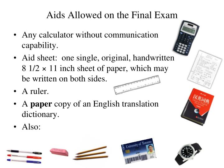 Aids Allowed on the Final Exam