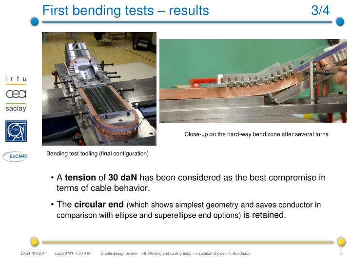 First bending tests – results                           3/4
