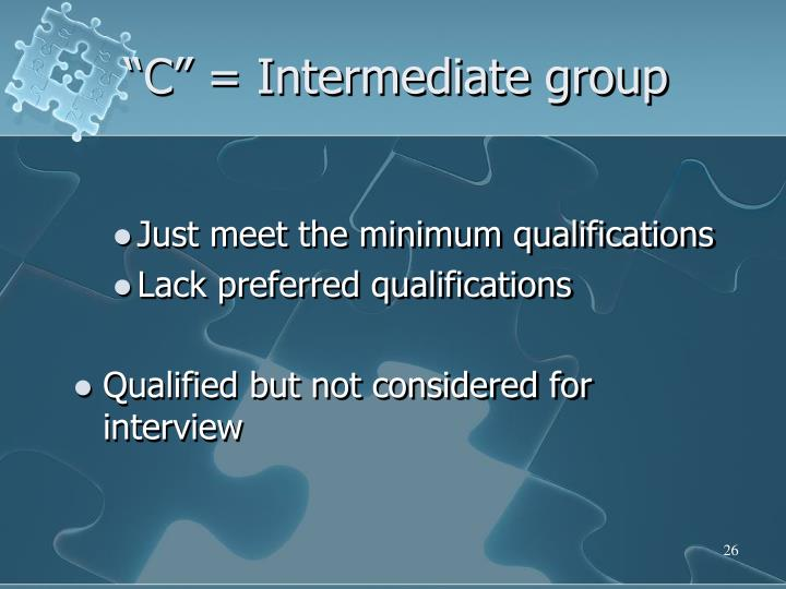 """C"" = Intermediate group"