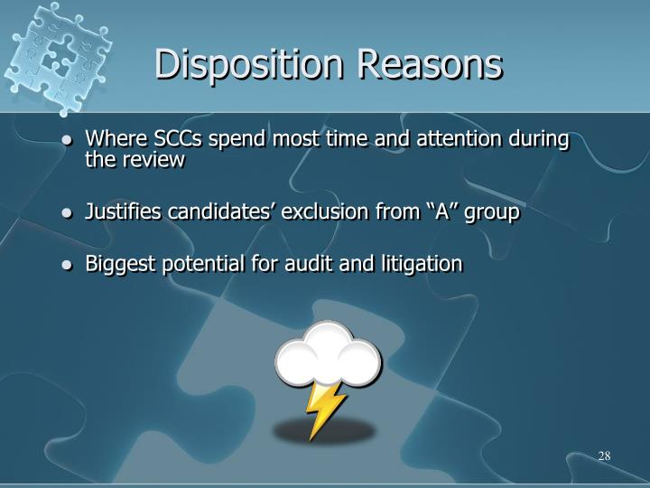 Disposition Reasons