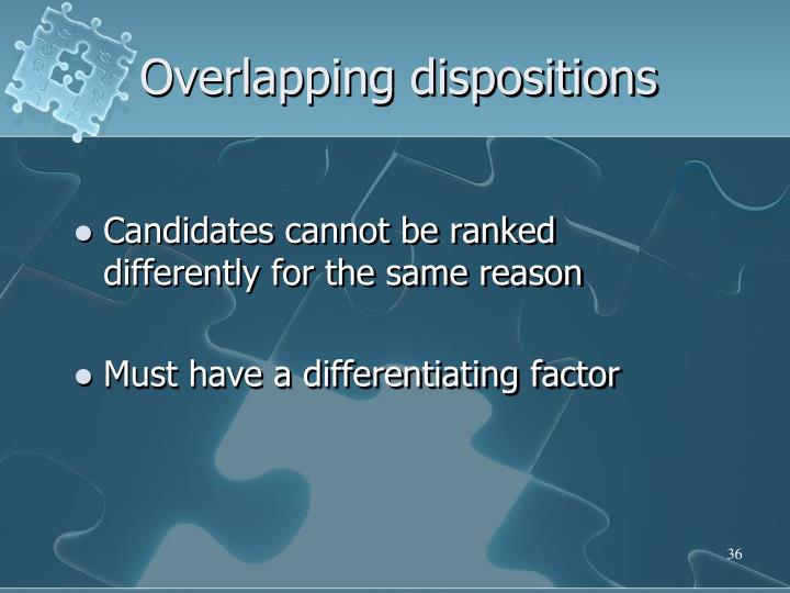 Overlapping dispositions