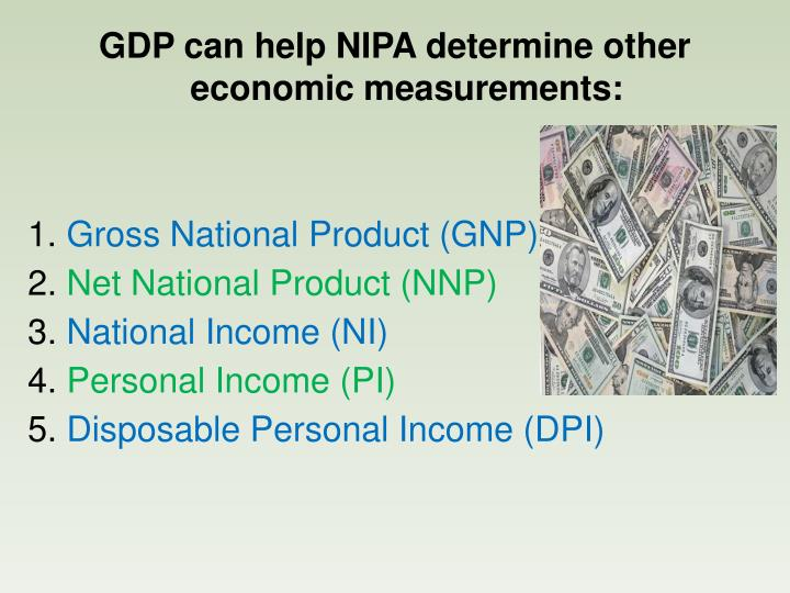GDP can help NIPA determine other economic measurements: