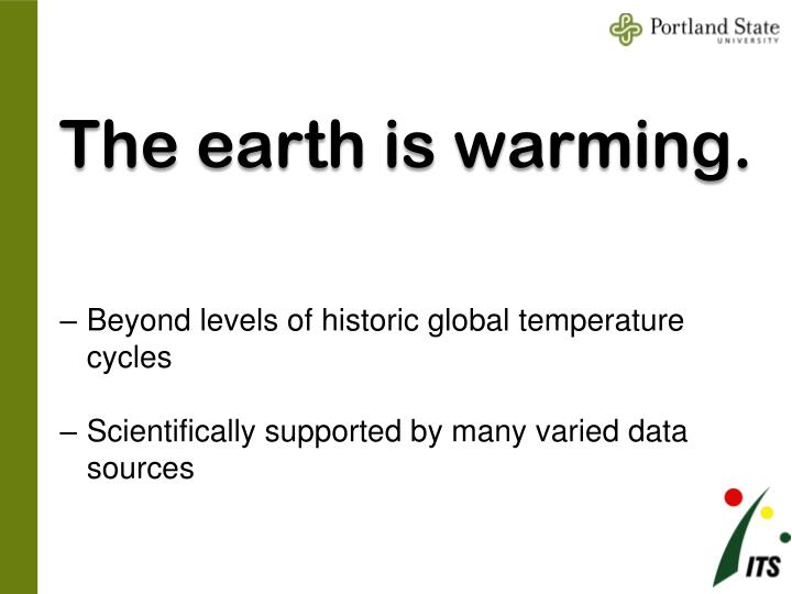 The earth is warming.
