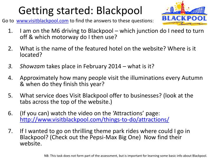 Getting started: Blackpool